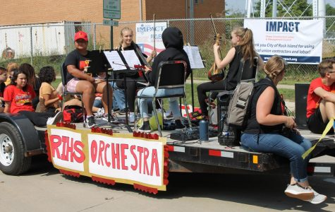 The RIHS Orchestra plays in the Homecoming Parade.